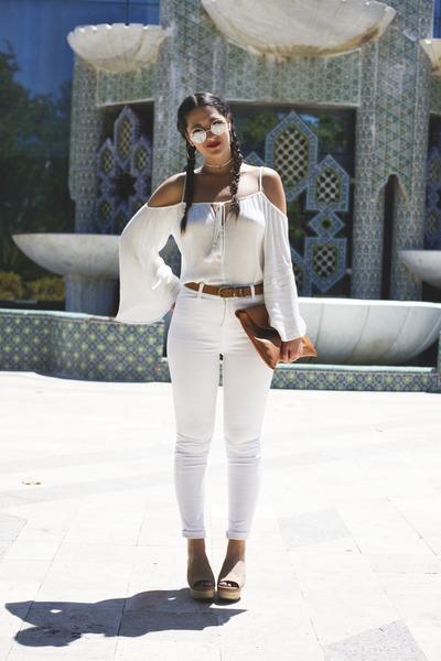 pull&bear sunglasses - romwe blouse - pull&bear pants - Marypaz heels