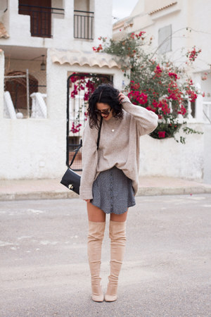 Public desire boots - Zara bag - vintage glasses - double agent skirt