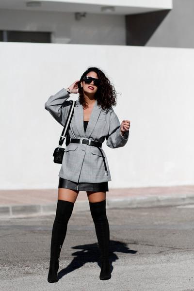 zaful blazer - Carolina Boix boots - Zara bag - zaful sunglasses - Bershka skirt