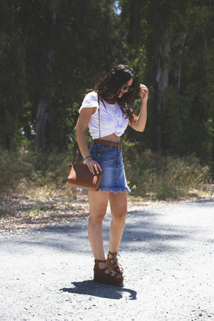 pull&bear skirt - Stradivarius bag - Primark belt - pull&bear sandals