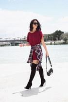 Public desire boots - H&M dress - pull&bear shirt - Zara bag - zaful sunglasses