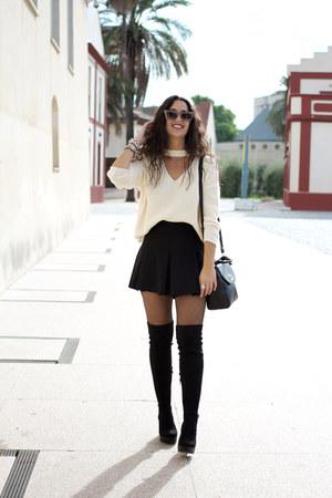 Marypaz boots - Sheinside sweater - pull&bear skirt