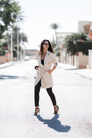 dresslily coat - dresslily sunglasses - pull&bear pants - Stradivarius sandals