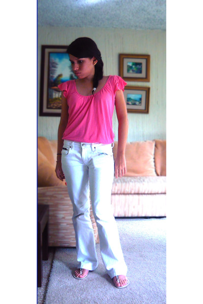 Pink Mango Ts, Shirts, White Unknown Pants, White Unknown Shoes ...
