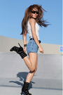 Black-boots-blue-vintage-shorts-white-kookai-top