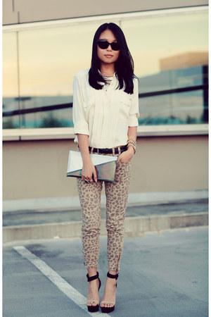 silver purse - black day 2 Jeffrey Campbell sandals - cream asos blouse