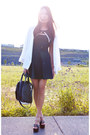 Black-dress-white-topshop-blazer-black-platform-report-sandals