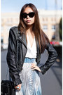 Light-blue-pleated-glassons-skirt-dark-gray-leather-biker-topshop-jacket