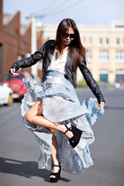 dark gray leather biker Topshop jacket - light blue pleated Glassons skirt