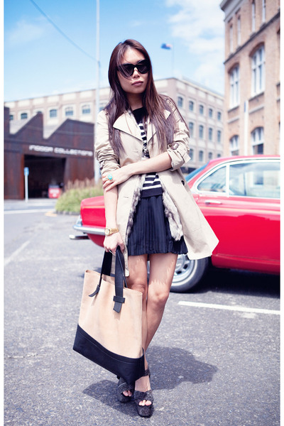 camel trench Zara coat - tan leather shopper bag - black Factorie skirt