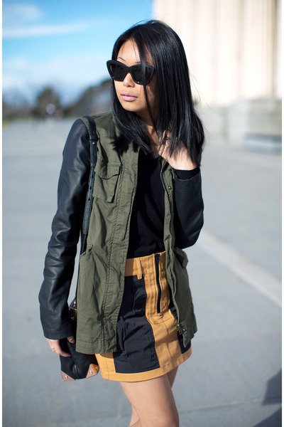 olive green military jacket - mustard Alexander Wang skirt