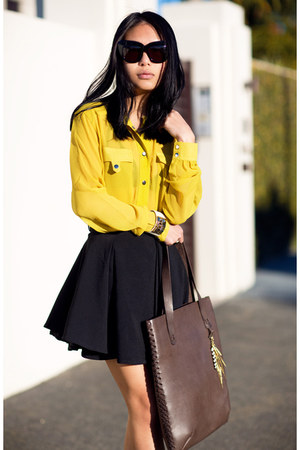 yellow asos shirt - dark brown bag - black skirt