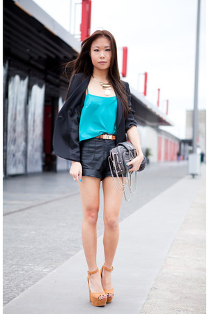 turquoise blue Topshop top - black Zara blazer