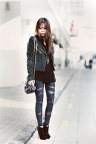 black tetra asos boots - charcoal gray bandage leggings