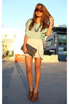 blue Seventh Door top - brown Topshop shoes - silver Seventh Door accessories