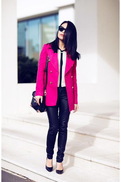 hot pink coat - black BCBG heels