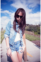sky blue vintage Levis shorts - sky blue jacket