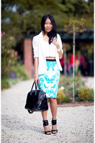 black bag - black sunglasses - aquamarine new look skirt