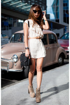 tan lita Jeffrey Campbell boots - ivory Glassons dress