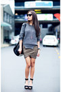 Charcoal-gray-jumper-black-zara-heels