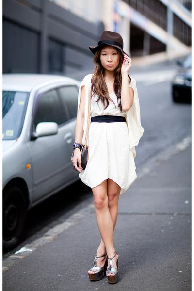 silver Jessica Simpson heels - cream asos dress