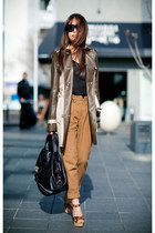 tan Topshop coat - camel wool Topshop pants