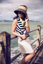 tan straw Mimco hat - lime green silk Mimco scarf - black mod Mimco purse