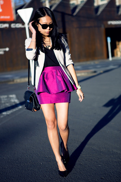 purple asos skirt - black necklace - black heels