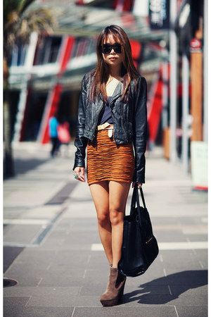 dark gray Topshop jacket - burnt orange asos skirt