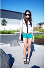 Turquoise-blue-topshop-shorts-white-blouse
