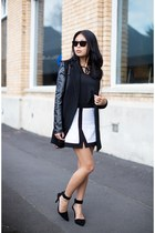 black coat - white skirt - black top