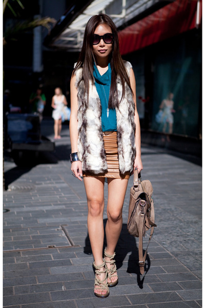 olive green Alexander Wang heels - teal silk drape top top - tawny leather skirt