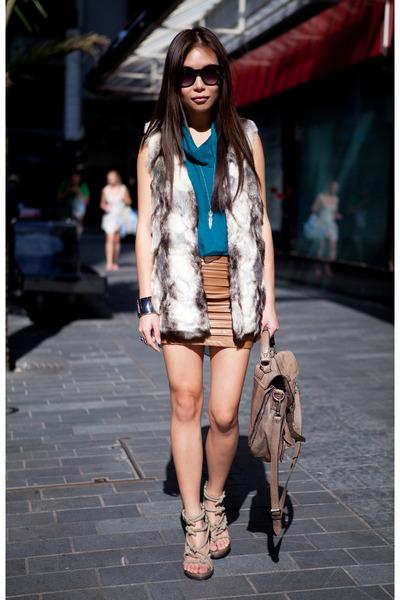 olive green Alexander Wang heels - teal silk drape top top - tawny leather skirt