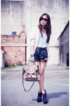 black Factorie shorts - dark gray Topshop boots - ivory Factorie cardigan