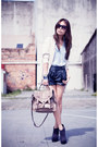 Dark-gray-topshop-boots-black-factorie-shorts-ivory-factorie-cardigan
