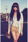 Camel-topshop-shorts-black-forever-21-heels-black-milk-bodysuit