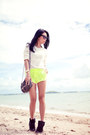 Yellow-topshop-shorts-off-white-factorie-jumper