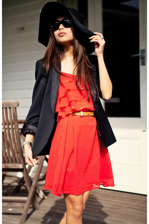 black Zara blazer - carrot orange TFNC dress - orange heels