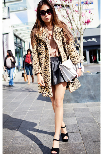 yellow Topshop coat - beige shirt - black leather shorts