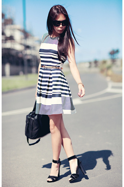 white Newlook dress - black Alexander Wang bag