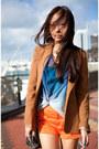Burnt-orange-grettta-steve-madden-shoes-camel-asos-blazer-blue-top