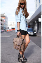 blue Country Road shirt - black Jeffrey Campbell shoes