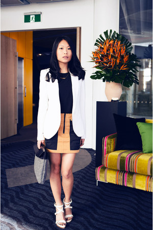 burnt orange Alexander Wang skirt - heather gray felt asos bag