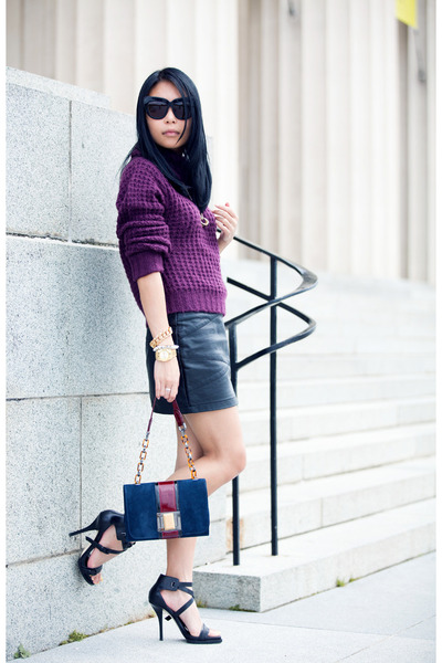 navy bag - deep purple new look sweater - black Alexander Wang heels