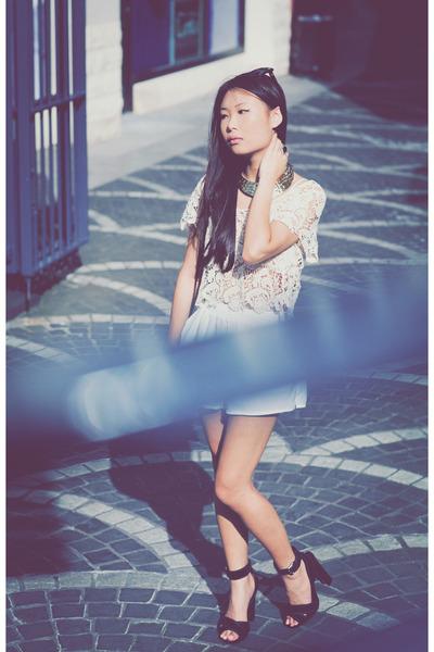 black Zara heels - white shorts