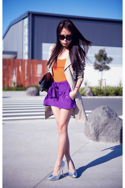 purple asos shorts - beige jacket - silver Topshop heels