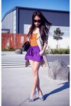 purple asos shorts - beige jacket - silver Topshop heels