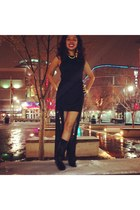 Aldo boots - Ross dress - sheer black CVS tights - Paris Hilton pumps