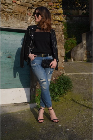 black romwe jumper - navy Zara jeans - black Zara heels