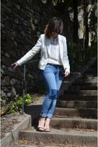 white Zara blazer - black Zara heels